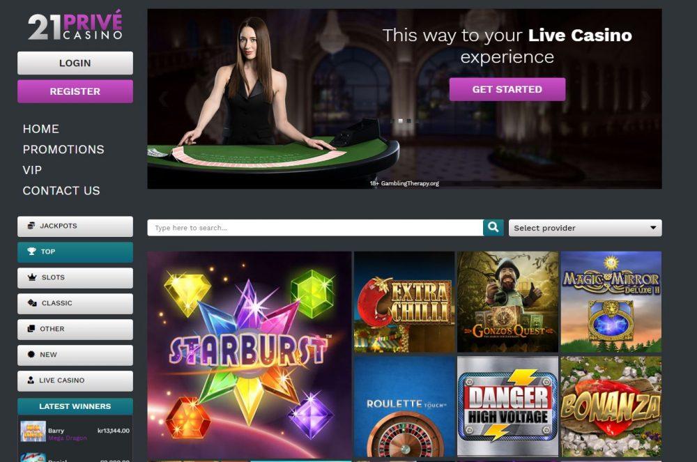 21Prive Casino Lobby Preview