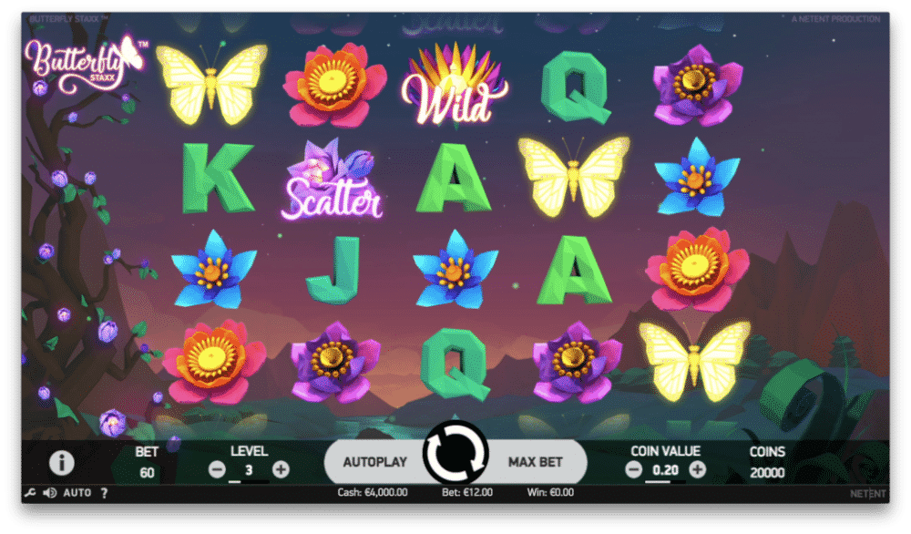 no depsit free spins and casino bonuses on Butterfly Staxx