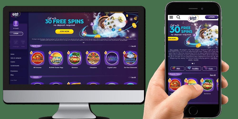 Wink Slots on mobile and desktop