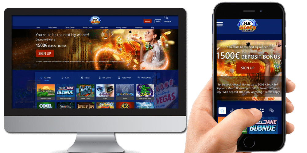 Allslots casino desktop and mobile
