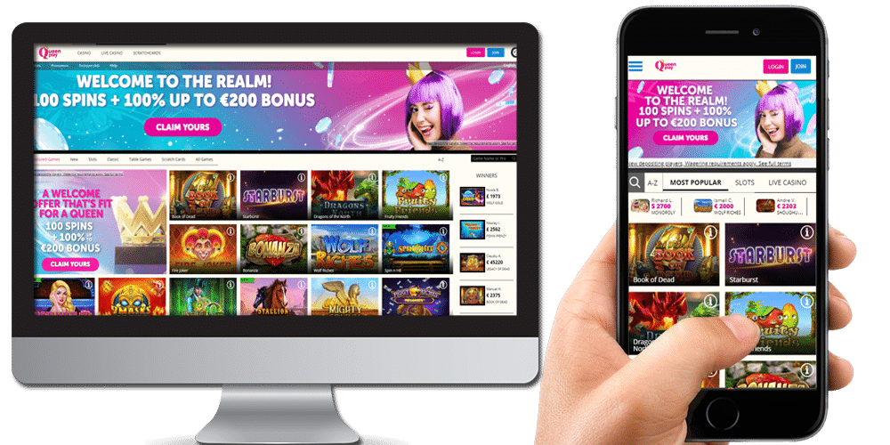 Queenplay Casino on Smartphone and laptop